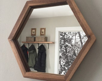 Hexagon Mirror with Walnut Wood Frame
