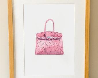 HERMES BIRKIN - Handbag - Fashion Art - Watercolour Print - Pink Bag - Gifts For Her - Haute Couture Art -  Dressing Room Wall Art - Fashion