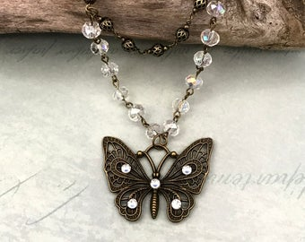 Crystal beaded butterfly necklace, bronze jewelry, gift for her, butterfly, vintage style, nature jewelry, birthday, anniversary