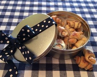 Rugelach Cookies in a Cookie Tin, Sugar Cookies, Nut Free Rugelach Cookies in a Tin, Gifts under 20, Gift Basket, Gift Pack Cinnamon Cookies