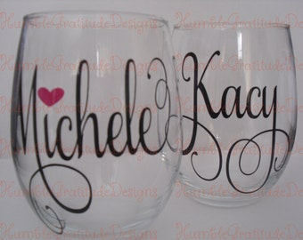 Stemless Wineglass with any Custom Name - You Choose the Name or Phrase - Personalized