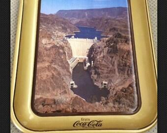 1985 Coca Cola 50th Anniversary Commemorative Hoover Dam Lithograph Tray