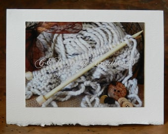 Knitting NoteCards, Yarn NoteCards, 6 Blank NoteCards, Photography Note Cards, For Her, Stationery, Gift, Yarn, Knitting Needles, Original