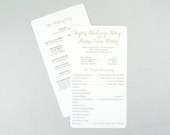 Classic Simple Gold Script Wedding Day Program // 5x8 Wedding Program (2-sided)