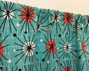 Retro Mid-Century Modern Atomic Turquoise Black White Red Under the Sink Panel Curtain