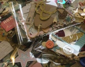 Bag of 50 mixed scrapbooking embellishments die cuts shapes project life junk journal smash ephemera destash mixed media