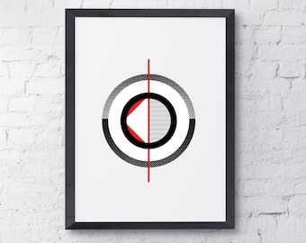Red Circles 3 Modern Wall Art Instant Download / Contemporary Art / Wall Print / Art Prints / Wall Art / Printable Art/Black and White Print