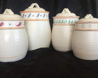 Taos Treasure Craft Canister Set of 4  Native American Southwestern Pottery