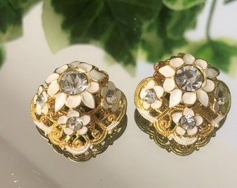 A Charming pair of Vintage Gold Tone White Enamel and Diamante Clip On Earrings
