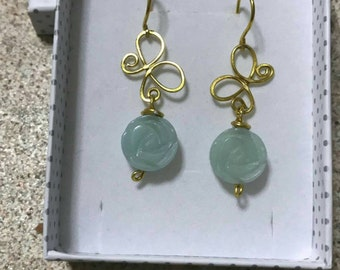 Wire earrings Amazonite