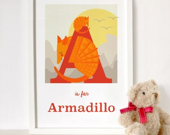 Armadillo letter print, animal alphabet print, letter A print, nursery print, gift for baby, gift for animal lover, armadillo print, nursery