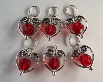 knitting and crochet stitch markers Set of 6, OOAK, Lightweight, Q13