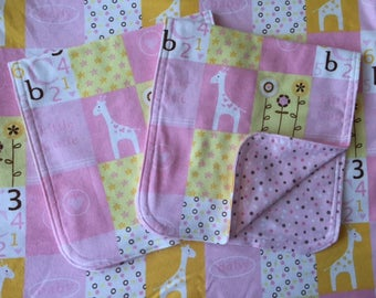 ABC 123 Reversible Baby Blanket & Burp Cloth Set