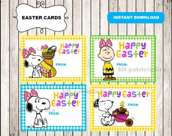 Easter gift tags etsy charlie brown easter tags instant download charlie brown happy easter cards printable snoopy easter negle Images