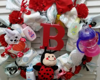 Ladybug theme diaper wreath