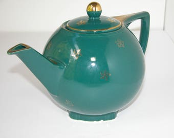 Hall Green and Gold Teapot