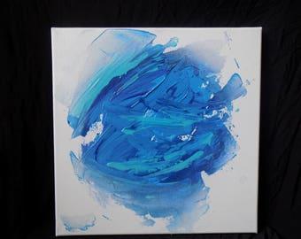 12x12, acrylic art blue art abstract painting texture art modern art fade painting