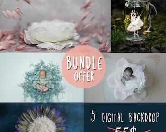 Digital Backdrop BUNDLE - 5 digital backgrounds, newborn digital backdrops, newborn photography prop, bundle offer, limited time offer SALE