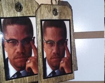 Malcolm X Wooden Earrings