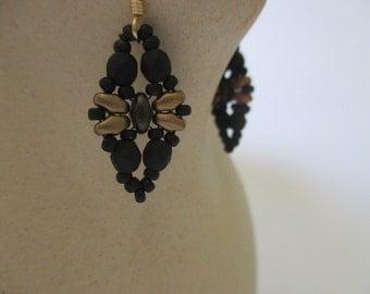 Beaded earrings/Seed bead earring/Tila bead earrings/Duo bead earrings