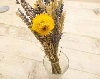 Wedding Table Flowers - Dried Barley, Lavender, and Wildflowers