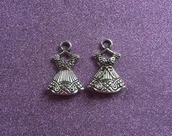 2 3D  Tibetan Silvertone Ladies Dress Charms