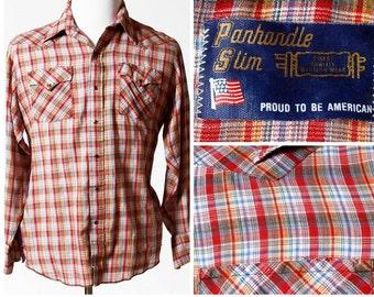 Vintage Men's Western Shirt Plaid Panhandle Slim - Retro 80s 16.5 Large L Country