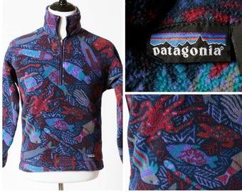 Vintage Patagonia Fleece Jacket Windbreaker 1/2 Zip Pullover - 90s Vintage Retro Fish Ocean Print Men's Small S Women's Medium M Made in USA