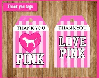 Victorias Secret Pink thank you tags instant download, Printable Victoria secret  party tags, Victoria secret  Tags