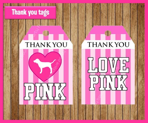 victorias secret pink thank you tags instant download