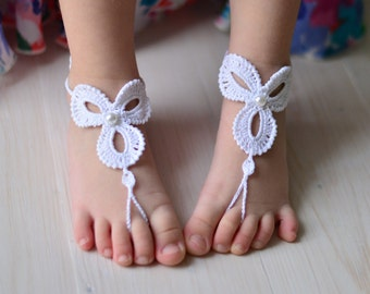 flower girl beach wedding sandles baby barefoot winx sandals footless sandals  crochet cotton christening sandles baby shower gift baptism