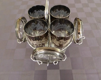 Mid Century Modern Filigree Silver Fade Glass and Coaster Set with Chrome Caddy - Dorothy Thorpe Style