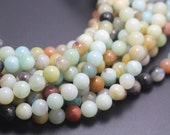 4mm Amazonite beads,Multicolor Amazonite Beads,Natural Gemstone round beads,15 inches one starand