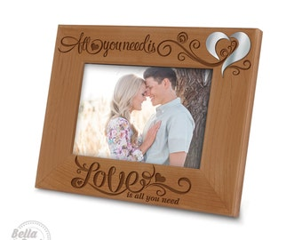Special Edition-All you need is love,love is all you need Picture Frame-Engraved Natural Wood Picture Frame(Mirror Acrylic Piece Integrated)