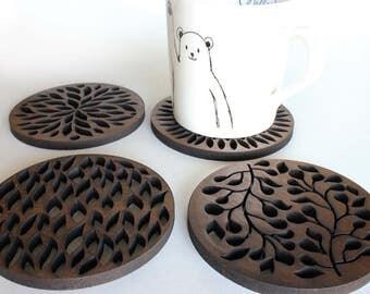 "Abstract Walnut Coasters- Laser Cut Walnut Wood Coasters (1/4"" (6 mm) Tick) - 4 piece (Natural Walnut Wood)-Walnut Coaster"
