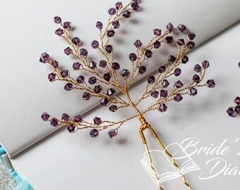 1pcs Bridal hair pins, Pearl Hair pins, gold hair pins with transparent pearls