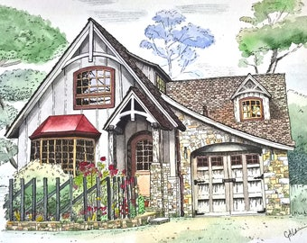 Watercolor House Portrait, Custom painting, original home painting, architectural sketch, house sketch,painting from photo, FREE SHIPPING