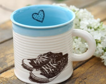 ON SALE, Porcelain Coffee Cup, Personalized Pottery Mug, Cappuccino Cup, Small Tea Mug, Shoes Lover, Ceramic Can Mug, Handmade Pottery Gift