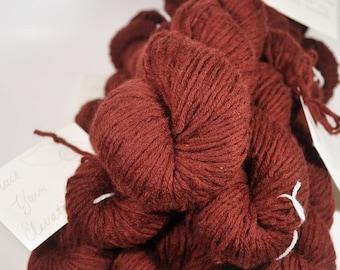 100% Merino Wool Yarn - Reclaimed Yarn, Eco Friendly Yarn, Recycled Knitting Yarn - Worsted Weight - Merlot