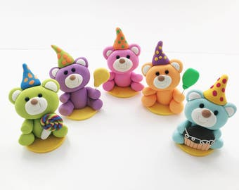 Teddy Bear Baby Shower Cake Topper, Teddy Bear Cake Topper, Bear Birthday Cake Topper, 1st Birthday Cake Topper, Polymer Clay