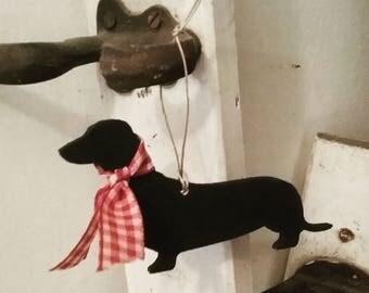 Hanging Dachshund Decoration, Sausage Dog, Wiener Dog, Handpainted Ornament, Dachshund Lover Gift, Dog Lover Gift