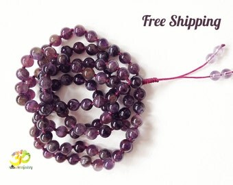 Amethyst 108 Mala, Purple Yoga Necklace for Mantra and Meditation, Hand Knotted Crystal Japa Mala, Free shipping,