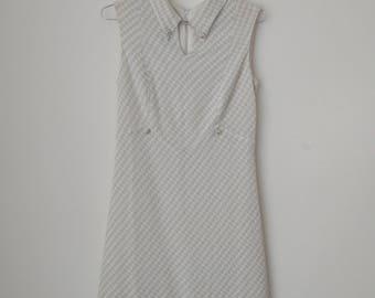 White and Silver Vintage Dress 60's 70's Twiggy Style