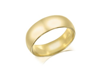 14K Solid Yellow Gold Regular Fit Plain Wedding Band Ring 6.0mm Size 5-13 - Polished