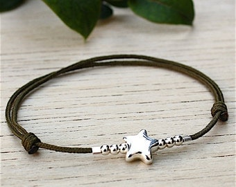 Bracelet cord to choose beads and star Sterling Silver 925