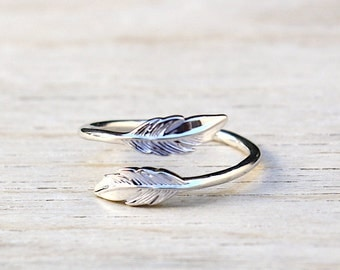 925 sterling silver feather ring - engagement