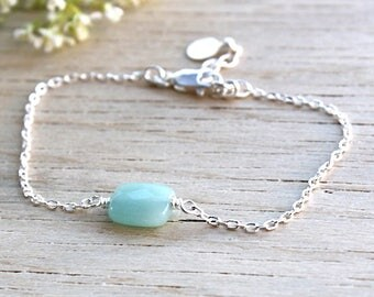 Bracelet gems on silver chain faceted amazonite stone massive: bracelet by foryoujewels