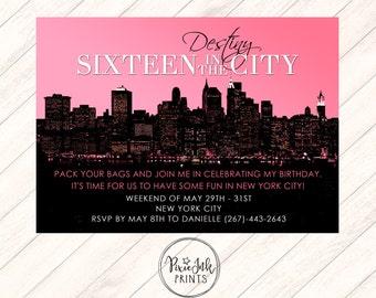 Sixteen in the City Invitation, Skyline Sweet 16 Invite, Pink Skyline Birthday Invitation, City Sweet Sixteen Invitation, Printable