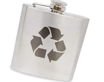 Recycle 6 Oz Flask, Stainless Steel Body, Handmade In Usa