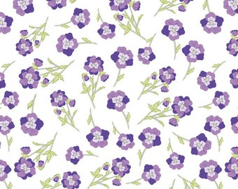Josephine's Florals blue/purple Cotton by the yard - Black/Pink/Orange /David Textiles/Free shipping available/floral fabric/rose and hubble